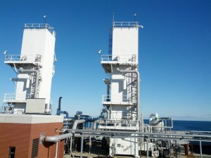 Pure oxygen for the aerobic bioreactors is produced in these tall towers.